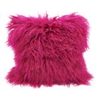 Becky Fur Lumbar Pillow Color: Fuchsia, Size: 16