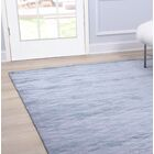 Hand-Knotted Wool/Silk Blue Area Rug