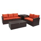 Marisa 4 Piece Rattan Sofa Seating Group Frame Finish: Brown, Fabric: Orange