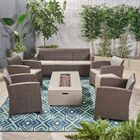 Agape 7 Piece Rattan Sofa Seating Group with Cushions Frame Finish: Brown/Light Gray, Cushion Color: Mixed Beige