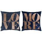 Liesel 2 Piece Love More Throw Pillow Set Color: Blue/Orange