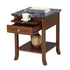End Table With Storage Table Top Color: Black Faux Marble, Table Base Color: Espresso