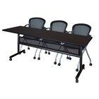 Vega Flip Top Mobile Training Table with Modesty Panel Tabletop Finish: Mocha Walnut, Size: 29