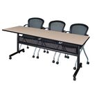 Vega Flip Top Mobile Training Table with Modesty Panel Size: 29