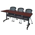 Vega Flip Top Mobile Training Table with Modesty Panel Tabletop Finish: Mahogany, Size: 29