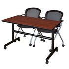 Vazquez Flip Top Mobile Training Table Tabletop Finish: Cherry, Size: 29
