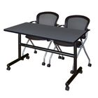 Vazquez Flip Top Mobile Training Table Tabletop Finish: Gray, Size: 29