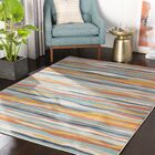 Huerta Modern Striped Aqua/Charcoal Area Rug Rug Size: Rectangle 7'10'' x 10'3''