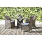 Doyle 5 Piece Sunbrella Patio Dining Set with Cushions Cushion Color: Canvas Khaki