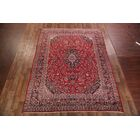 One-of-a-Kind Floral Traditional Mashad Persian Hand-Knotted 9'5