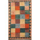 One-of-a-Kind Gabbeh Shiraz Persian Hand-Knotted 3'8