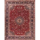 One-of-a-Kind Mashad Persian Traditional Hand-Knotted 9'6