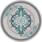Ramsel 3D Traditional Oriental Floral Gray/Turquoise Area Rug Rug Size: Round 5'3