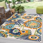 Tabb Floral Orange/Blue Indoor/Outdoor Area Rug Rug Size: Rectangle 5'3