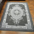 Ramsel 3D Traditional Oriental Floral Charcoal Area Rug Rug Size: Rectangle 7'9