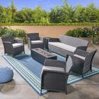 Ayala Outdoor 7 Piece Rattan Sofa Seating Group with Cushions Frame Finish: Gray, Cushion Color: Silver