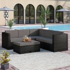4 Piece Rattan Sectional Set with Cushions Frame Color: Black