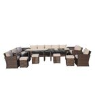 Michelson 14 Piece Rattan Sectional Seating Group with Cushions