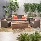 Baez Outdoor 5 Piece Rattan Sofa Seating Group with Cushions Frame Finish: Brown, Cushion Color: Mixed Beige