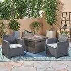 Helena Outdoor 3 Piece Rattan Sofa Seating Group with Cushions Frame Finish: Charcoal, Cushion Color: Gray