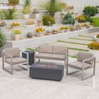 Maud Outdoor 5 Piece Sofa Seating Group with Cushions Frame Finish: Dark Gray