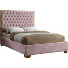 Spadaro Upholstered Platform Bed Size: King, Color: Pink, Color (Frame): Gold