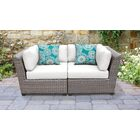 Florence 2 Piece Rattan Conversation Set with Cushions Color: White