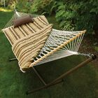 Brookside 4 Piece Rope Cotton Hammock with Stand Set Color: Green / Tan Stripe