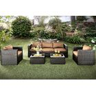 Alden 5 Piece Rattan Sofa Set with Cushions Fabric: Brown
