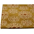 Normandie Hand-Tufted Gold/Ivory Area Rug Rug Size: 7'10