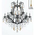 Clemence 12-Light Black Chain Candle Style Chandelier Finish: Amber