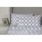 Lattice 400 Thread Count 100% Cotton Sheet Set Size: Queen, Color: Navy