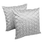 Indian Diamond Mosaic Embroidered Cotton Throw Pillow Color: Silver / Ivory
