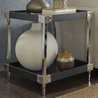 Blais End Table Table Top Color: Navy Black, Table Base Color: Chrome