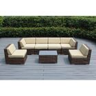 7 Piece Sectional Seating Group with Cushions Cushion Color: Beige, Frame Finish: Mixed Brown