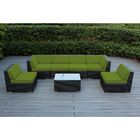 7 Piece Sectional Seating Group with Cushions Cushion Color: Sunbrella Jockey Red, Frame Finish: Black