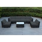 7 Piece Sectional Seating Group with Cushions Frame Finish: Black, Cushion Color: Dark Gray