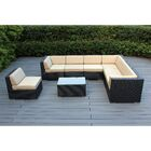 Baril 8 Piece Rattan Sectional Set with Cushions Fabric: Red