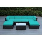 Baril 7 Piece Sofa Set with Cushions Fabric: Turquoise, Color: Black