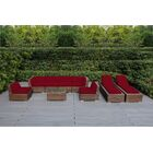 Ohana 9 Piece Sunbrella Sectional Set with Cushions Fabric: Sunbrella Jockey Red, Color: Mixed Brown