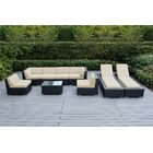 Ohana 9 Piece Sunbrella Sectional Set with Cushions Fabric: Sunbrella Antique Beige, Color: Black