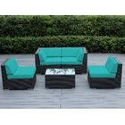 Baril 5 Piece Sectional Set with Cushions Fabric: Sunbrella Jockey Red, Color: Black