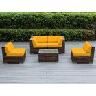 Baril 5 Piece Sectional Set with Cushions Color: Mixed Brown, Fabric: Sunbrella Sunflower Yellow