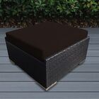 Baril Large Ottoman with Cushion Fabric: Brown, Finish: Black