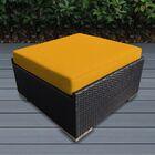Baril Large Ottoman with Cushion Fabric: Sunbrella Sunflower Yellow, Finish: Black