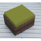 Baril Small Ottoman with Cushion Fabric: Sunbrella Macaw, Finish: Mixed Brown