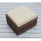 Baril Small Ottoman with Cushion Fabric: Sunbrella Antique Beige, Finish: Mixed Brown