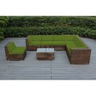 Baril 8 Piece Rattan Sunbrella Sectional Set with Sunbrella Cushions Fabric: Macaw, Frame Color: Mixed Brown