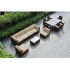 Ohana 14 Piece Complete Patio Set with Cushions Fabric: Sunbrella Macaw, Color: Mixed Brown