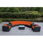 Popham 8 Piece Rattan Sunbrella Sectional Set with Cushions Cushion Color: Tuscan